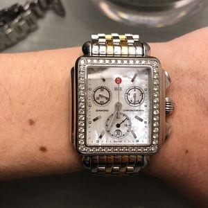 Michele two tone deco watch with XL diamonds!